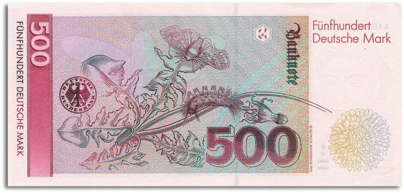 Image of a German 500 DM banknote.